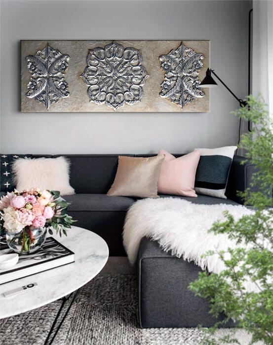 cuadros en plata para el sofa