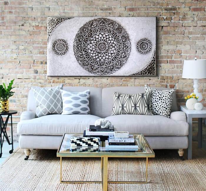 cuadros para el sofa mandalas