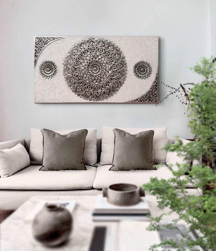 cuadros mandalas en plata sofas