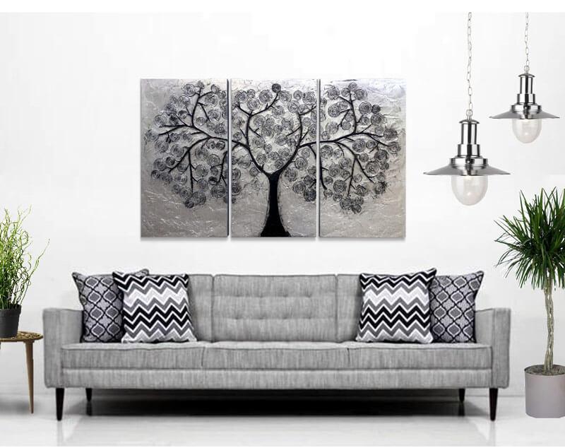 decoracion cuadros para el sofa plata