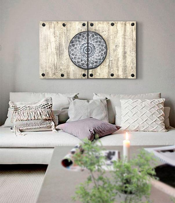 cuadros mandalas para el sofá